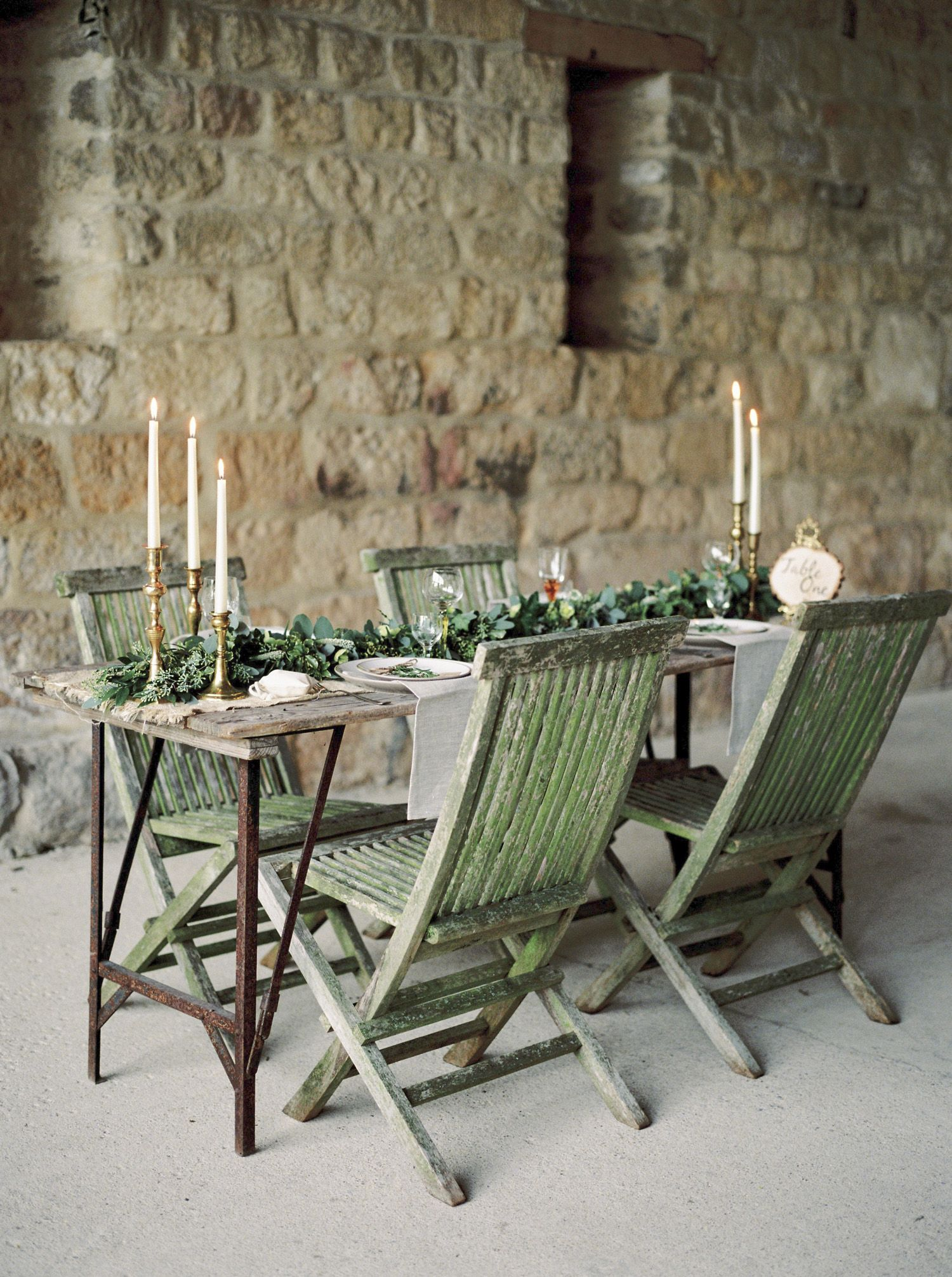 Olive Table Runner And Candles