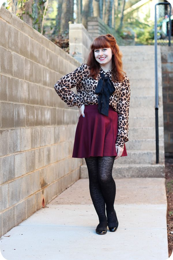 Petite Panoply: Leopard Print Blouse, Maroon Skater Skirt, & Retro Makeup