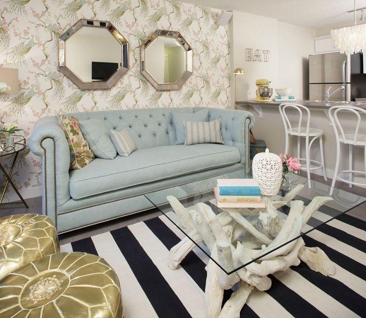 table basse bois flott blanchi tapis noir et blanc ray et canap bleu pastel - Table Basse Bois Flotte