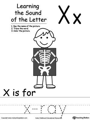 Learning Beginning Letter Sound X  Printable worksheets