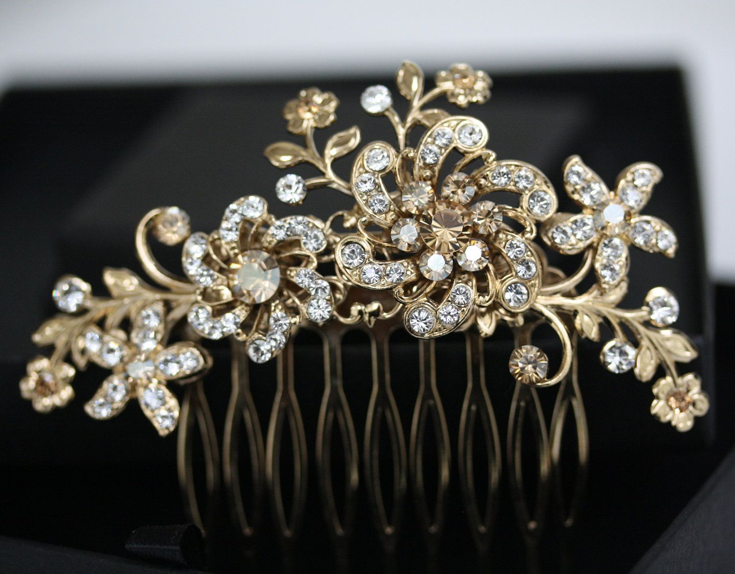 gold flower hair comb, bridal headpiece in swarovski crystal