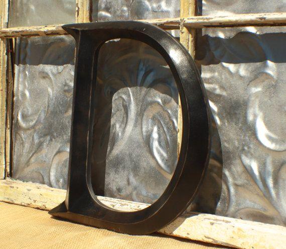 Large Letter/ Distressed Letter D/ Sign letter Black Wall Letter D ...
