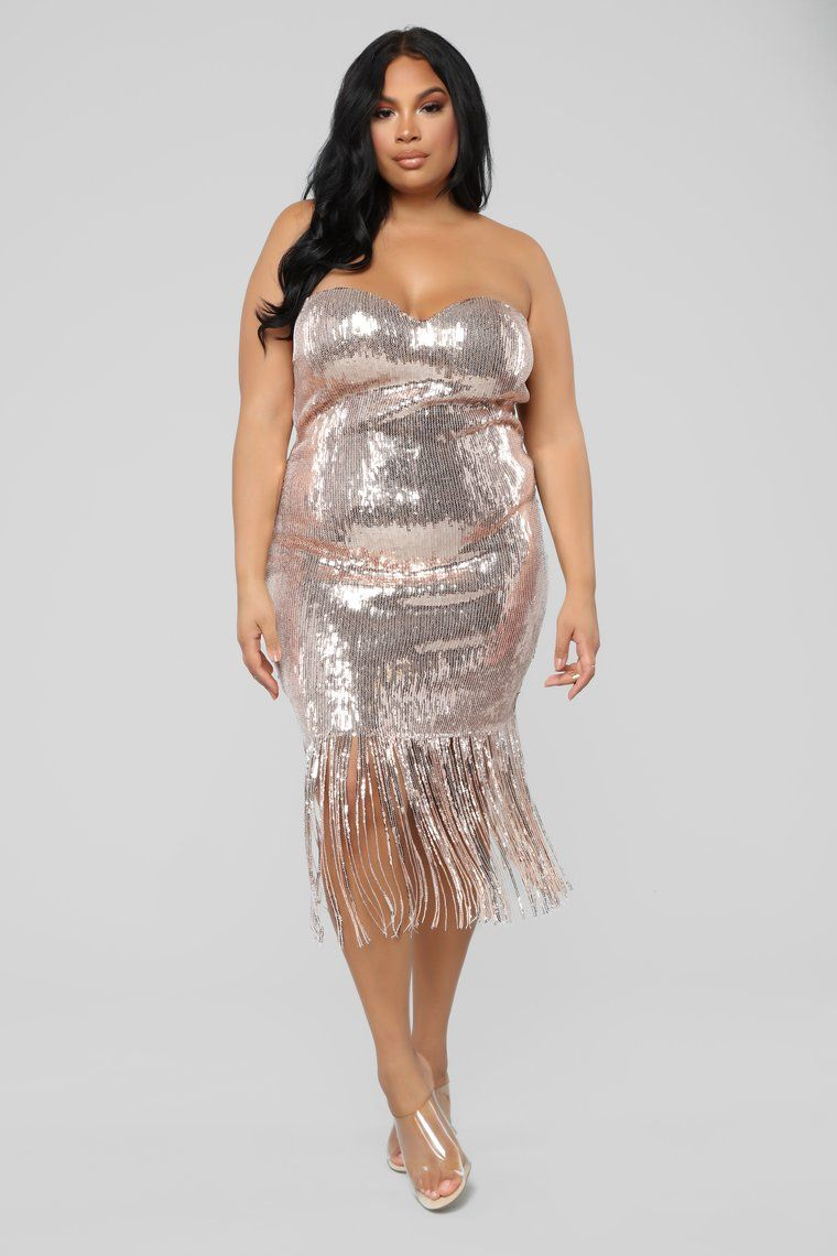 b758990bb Speak Easy To Me Fringe Dress - Rose Gold in 2019 | Phat | Fringe ...