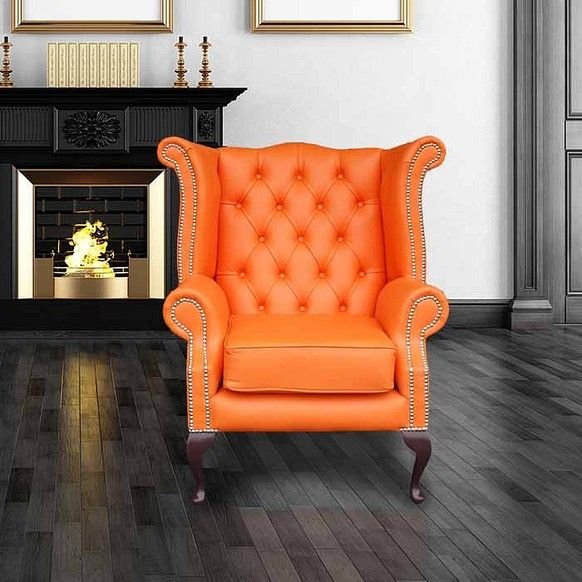 This orange coloured Chesterfield Queen Anne wing chair is a rare furniture piece with designer winged features and bold duck feet legs. & Click image for larger view | For the Home | Pinterest | Queen anne ...