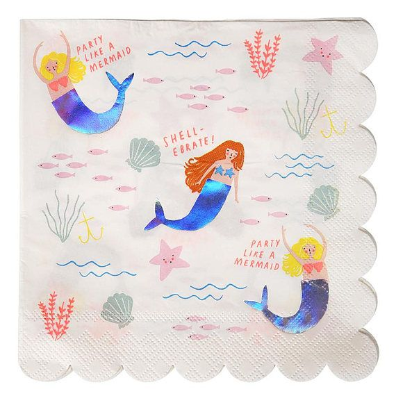 Mermaid Ariel. Large Paper Party Napkins. The perfect table  sc 1 st  Pinterest & Mermaid Napkins. Tableware. Mermaid Ariel. Large Paper Party Napkins ...