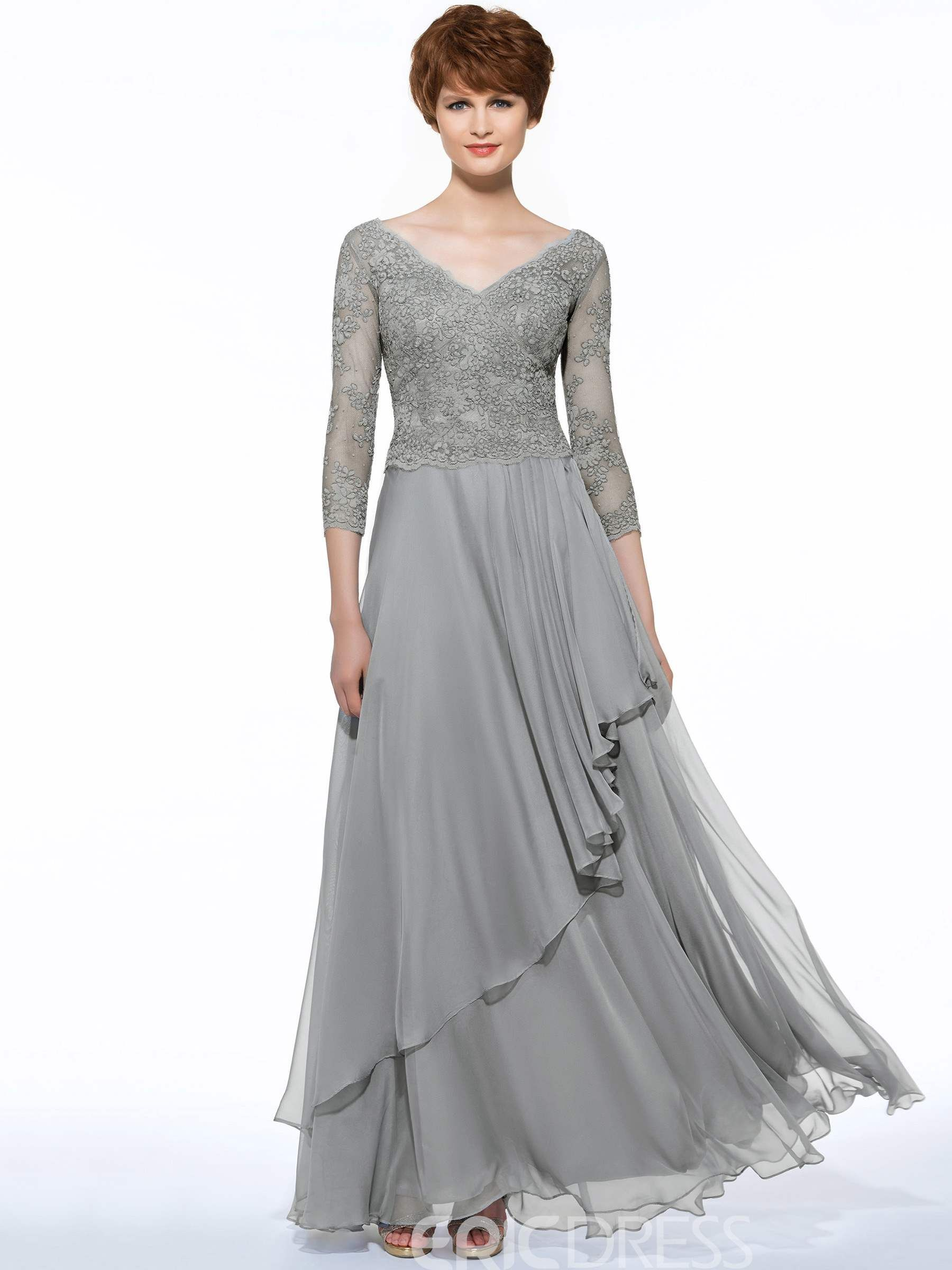 23de54f4c0e1 Ericdress Elegant V Neck 3/4 Length Sleeves Lace Long Mother Of The Bride  Dress
