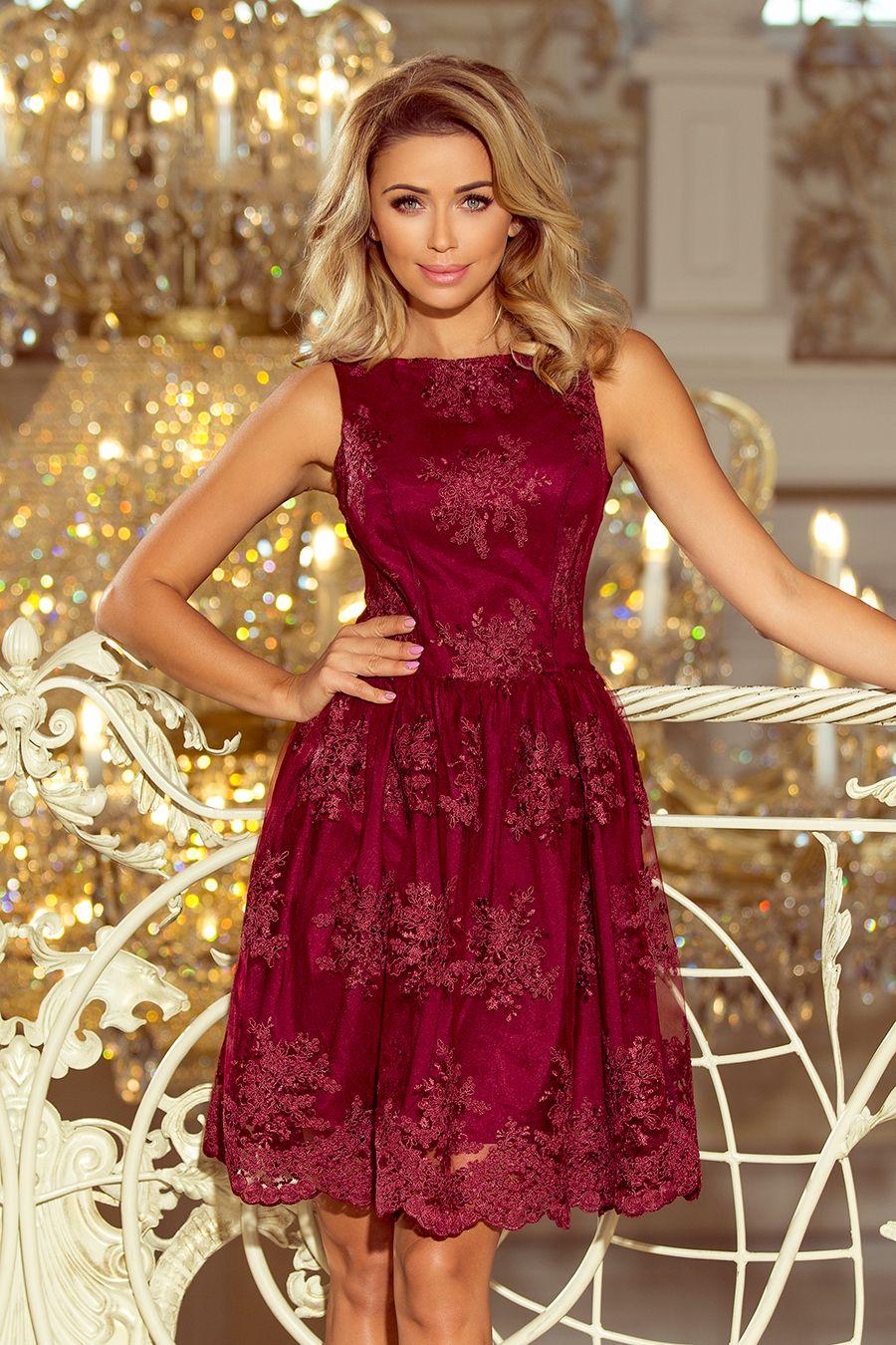 944fe1c28b Koronkowa bordowa rozkloszowana sukienka - bogato zdobiona. Marka numoco.  Polski producent odzieży. www.numoco.sklep.pl www.numoco.com