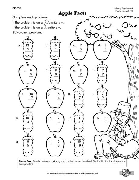MATH WORKSHEET: ADDITION AND SUBTRACTION FACTS THROUGH 18
