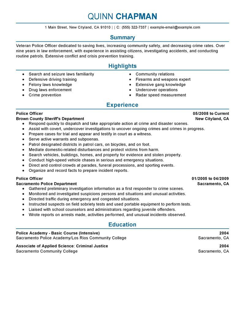 Fbi Police Officer Sample Resume Police Resume Sample, Best Police Officer  Resume Ideas On . Throughout Sample Police Resume