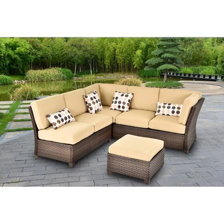 Cadence Wicker 3 Piece Outdoor Sectional Sofa Set Tan Seats 5