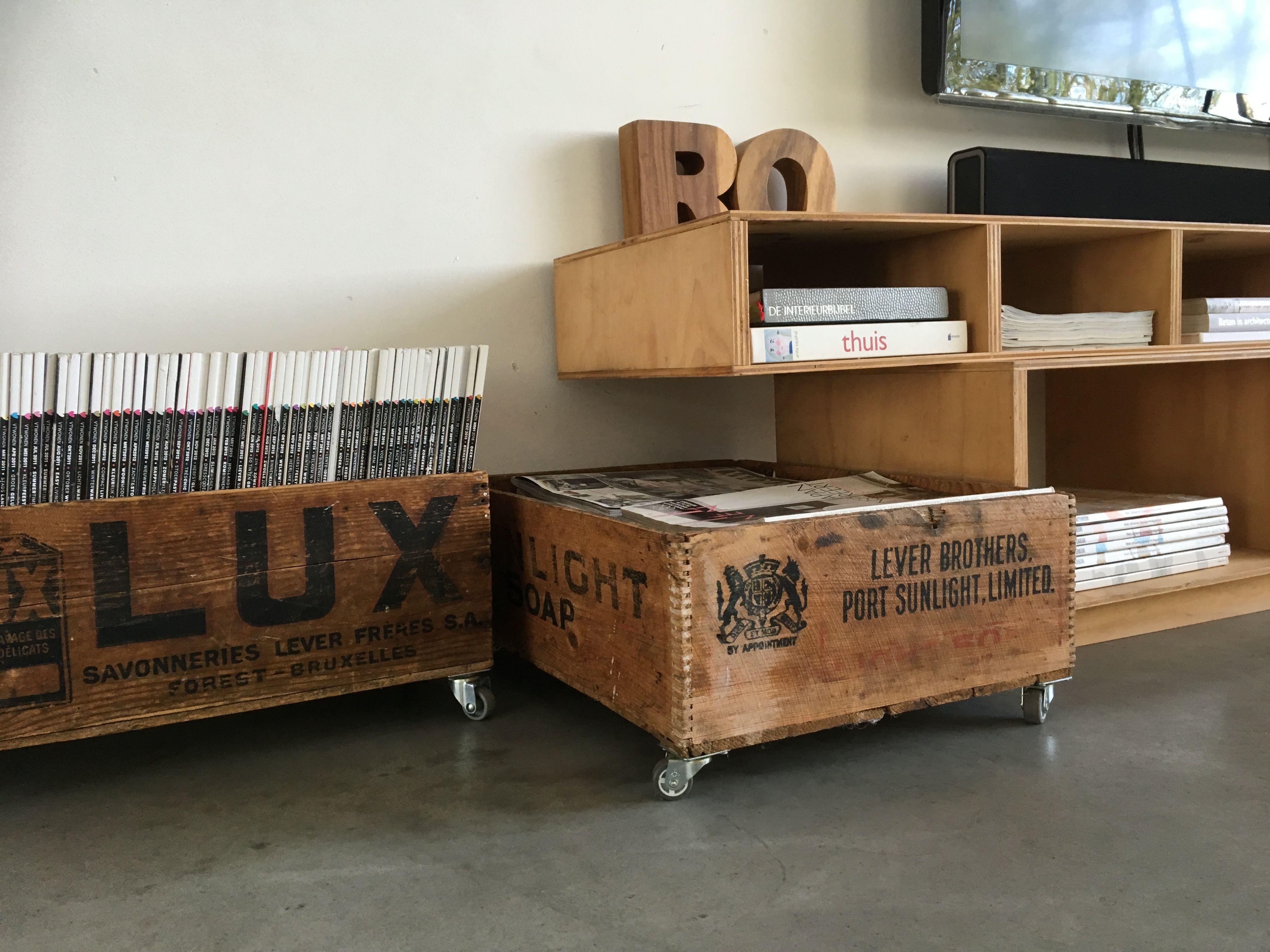 huize ro hout op wielen tijdschriftenbak boekenkast tv meubel ro