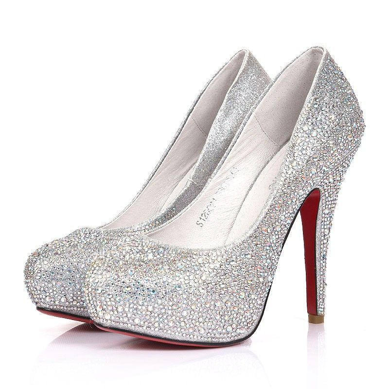 Silver Celebrities Love Super High Heels Sparkle Prom Shoes Special sparkle:  ankle corsage with glitter sprayed flowers.