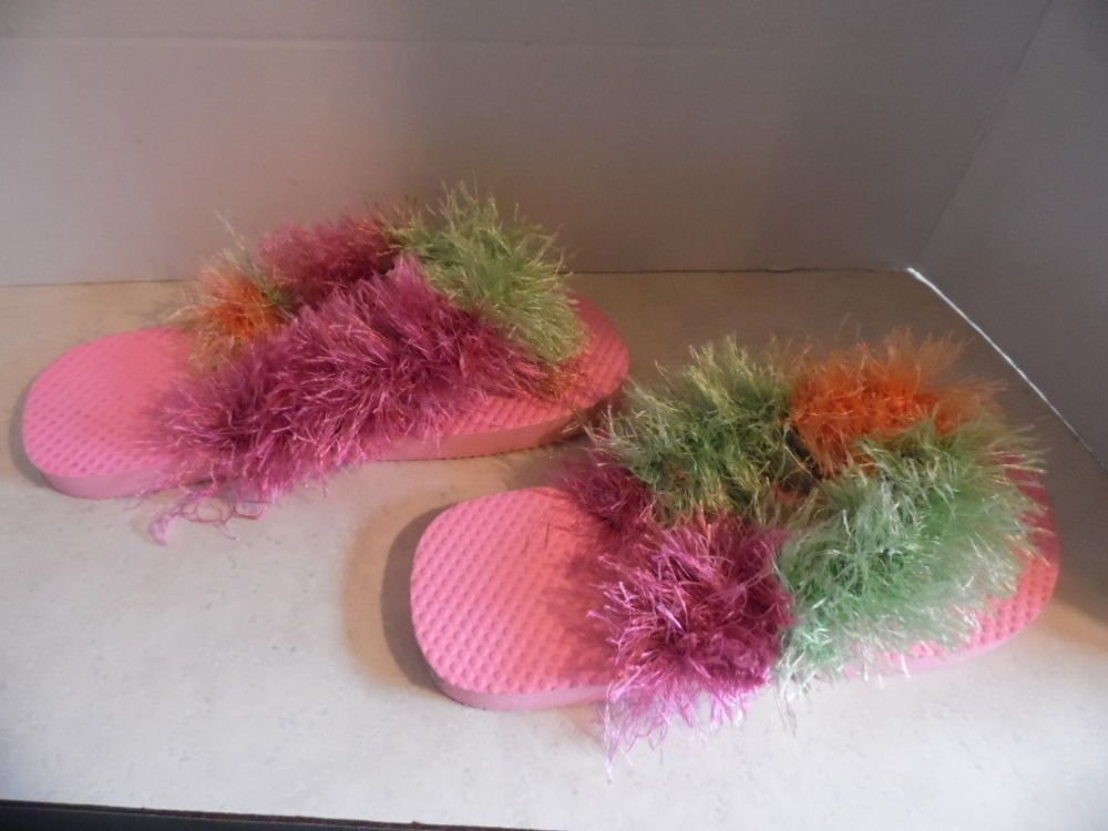 af0ad41e517f63 Flip Flops 1 Pair Pink Flip Flops with Crocheted Eyelash yarn  Handmade   FlipFlops