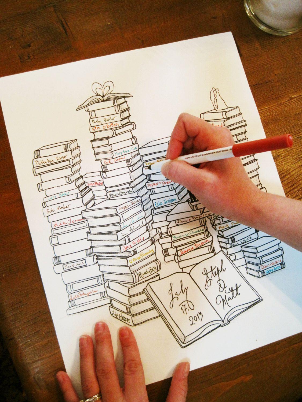 Wedding Guest Book Alternative | Library Themed Wedding | Book ...