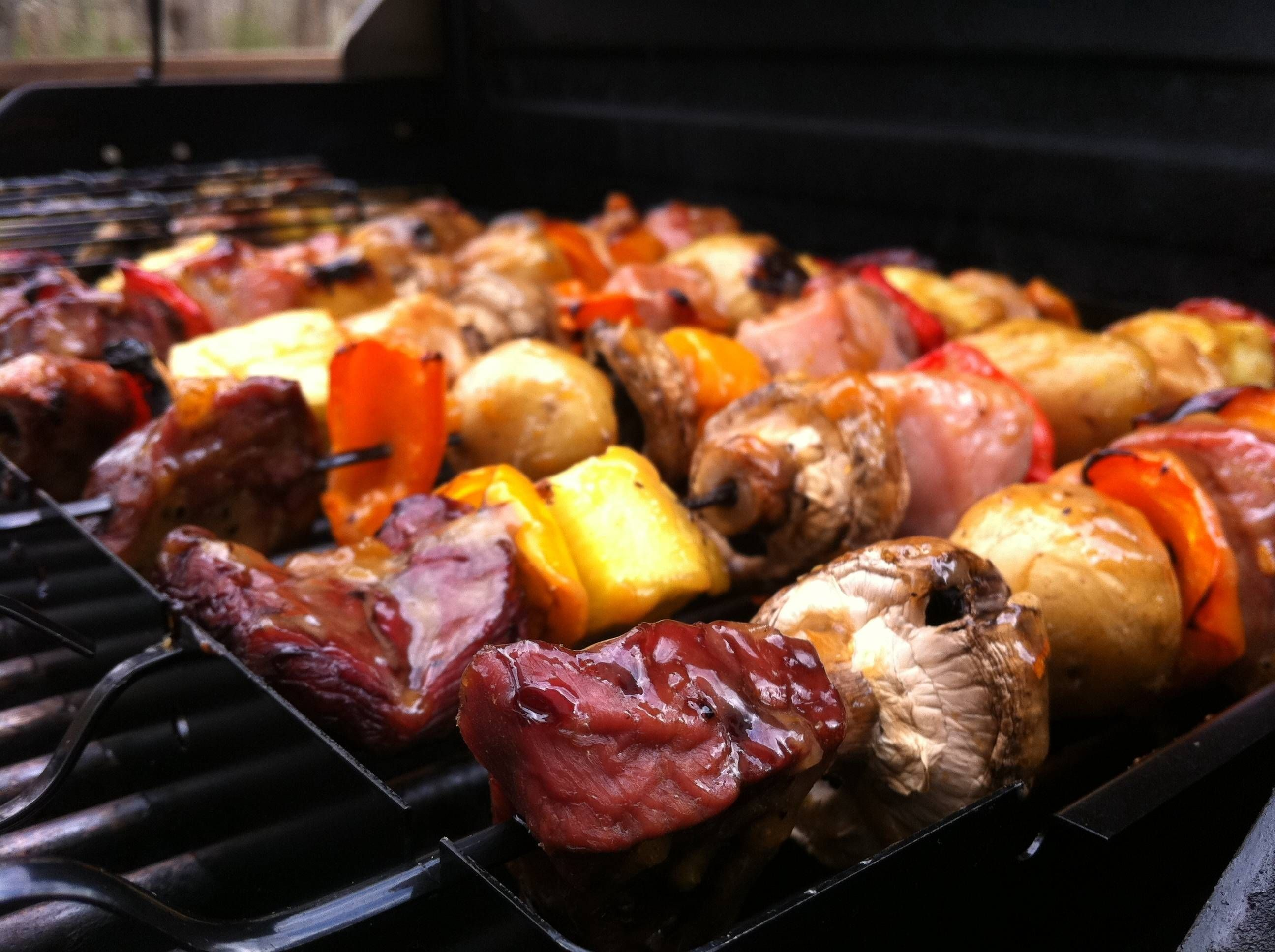 Food on a stick! Veggies and meat go very well together on a hot grill. #lunch #barbecue #meat #grill