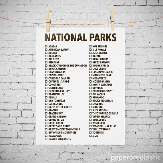 graphic relating to Printable National Park Checklist named Countrywide Parks Listing Quick Down load Printable Print