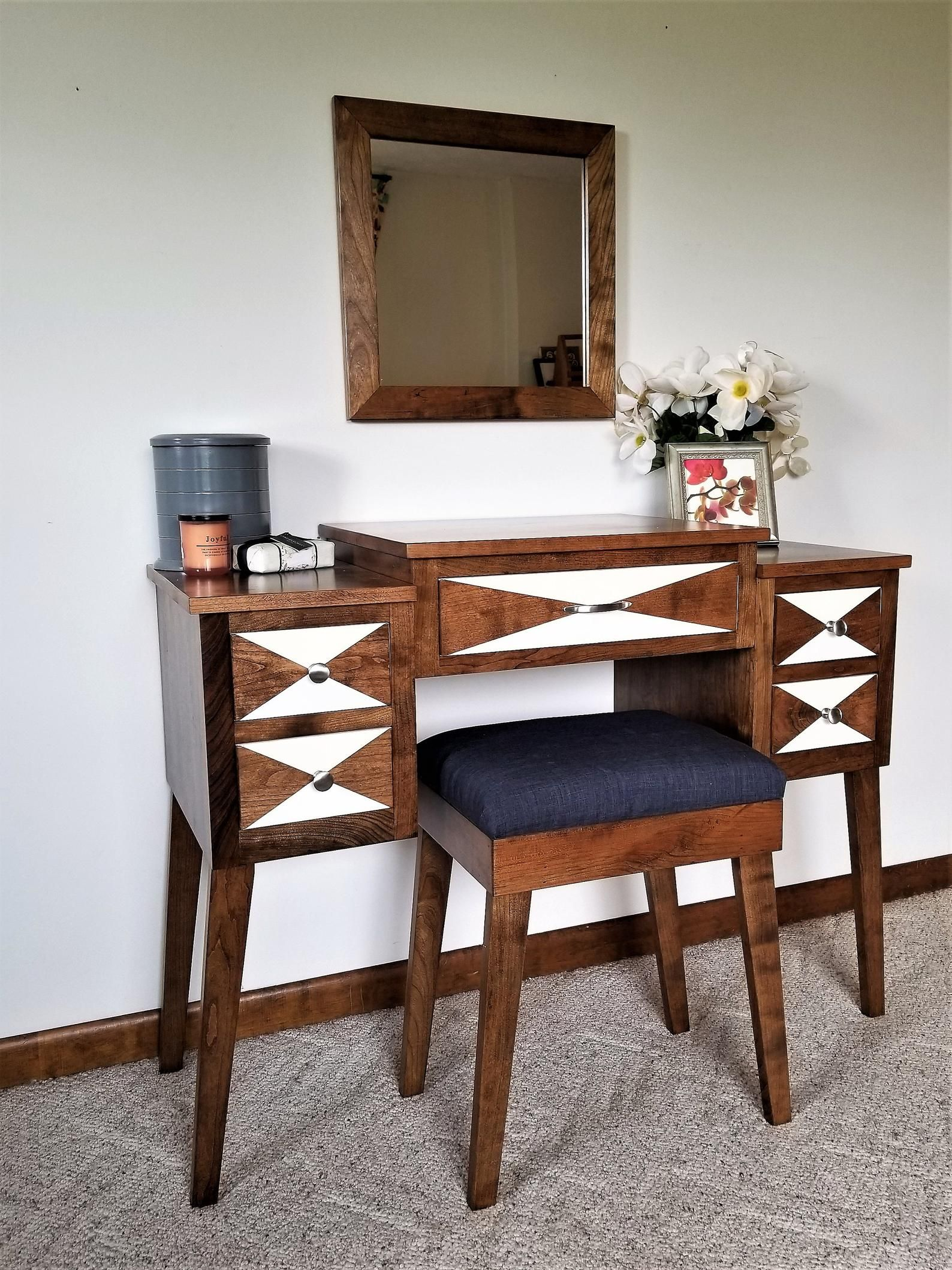 New Tiered Mid Century Modern Makeup And Vanity Table Etsy