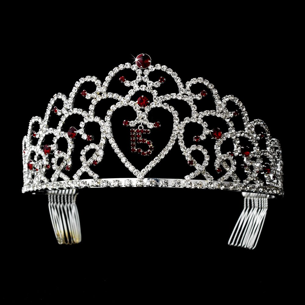 Pink Silver Quinceanera Tiara Crown Sweet 15 Mis Quince Anos with Combs