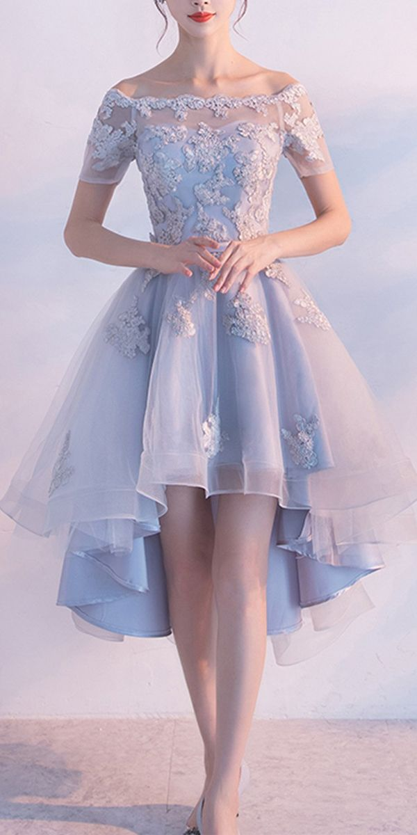 Photo of [$139.99]High Low Homecoming Dress Off-the-shoulder Tulle Short Prom Dress PD355