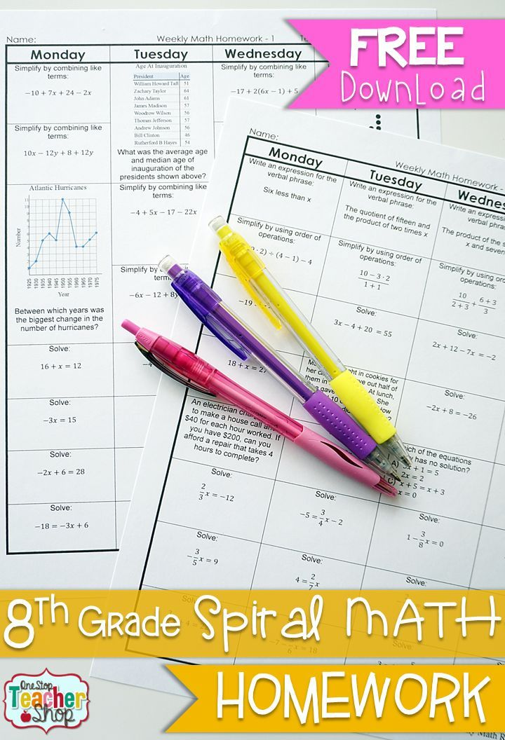 FREE 8th Grade Common Core Spiral Math Homework - with answer keys ...