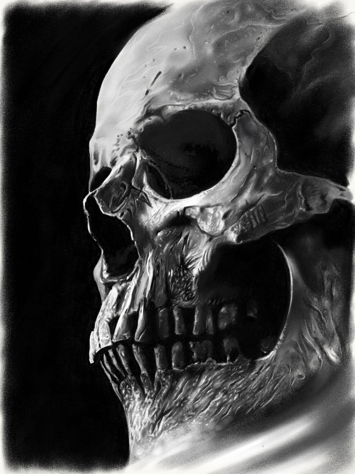 Realistic contrasting skull on Behance | sombras | Pinterest ...