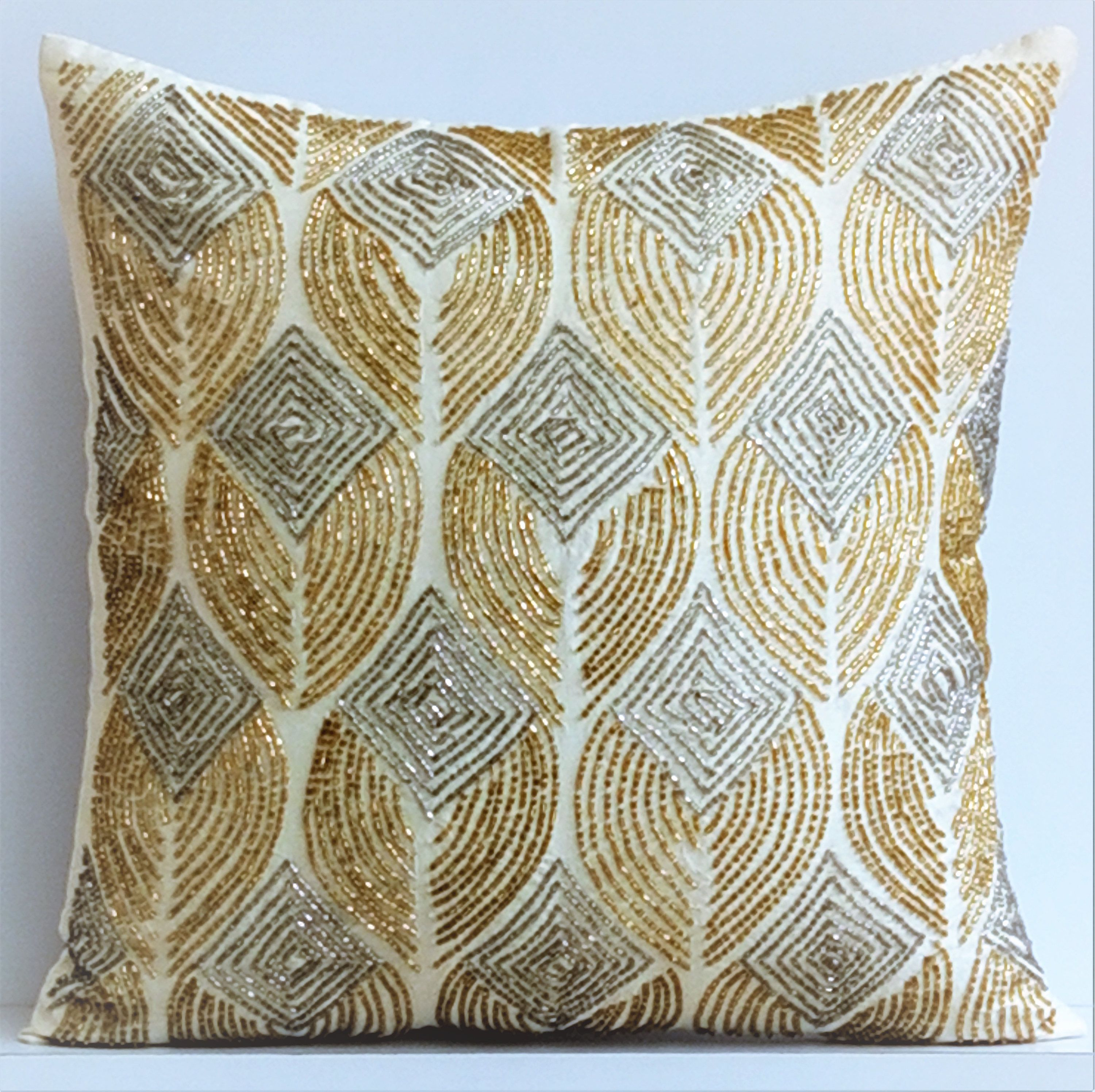 Ivory Decorative Pillow Cover 16 X16 Silk Pillows Covers For