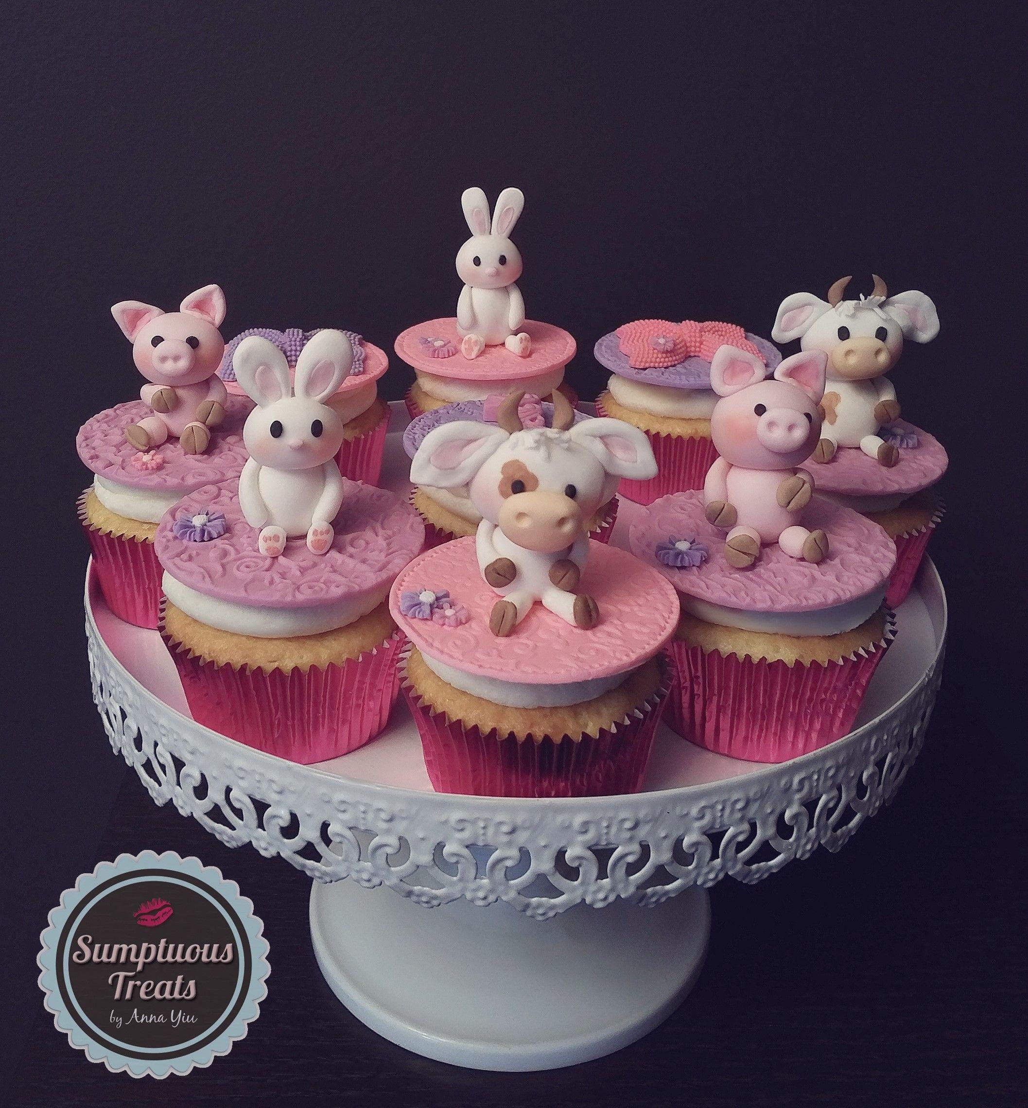 Cute Farm Animal 1st Birthday Cupcakes Purple Pink Theme Custom Made To Order Cakes Cookies Edible Art Sumptuoustreats