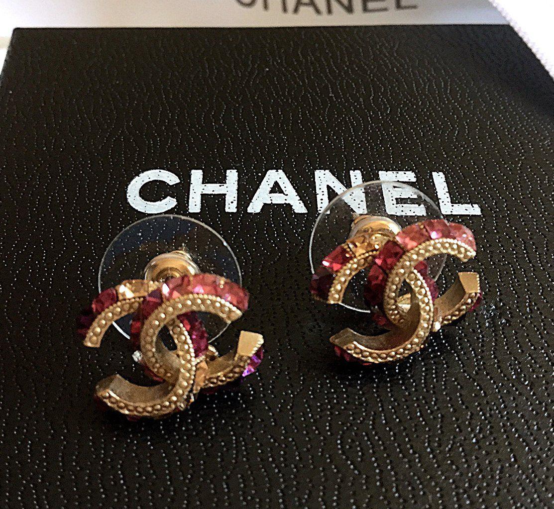 Chanel Cc Crystal Gold Pink Purple Stud Earrings Clic Mini Hallmark Authentic