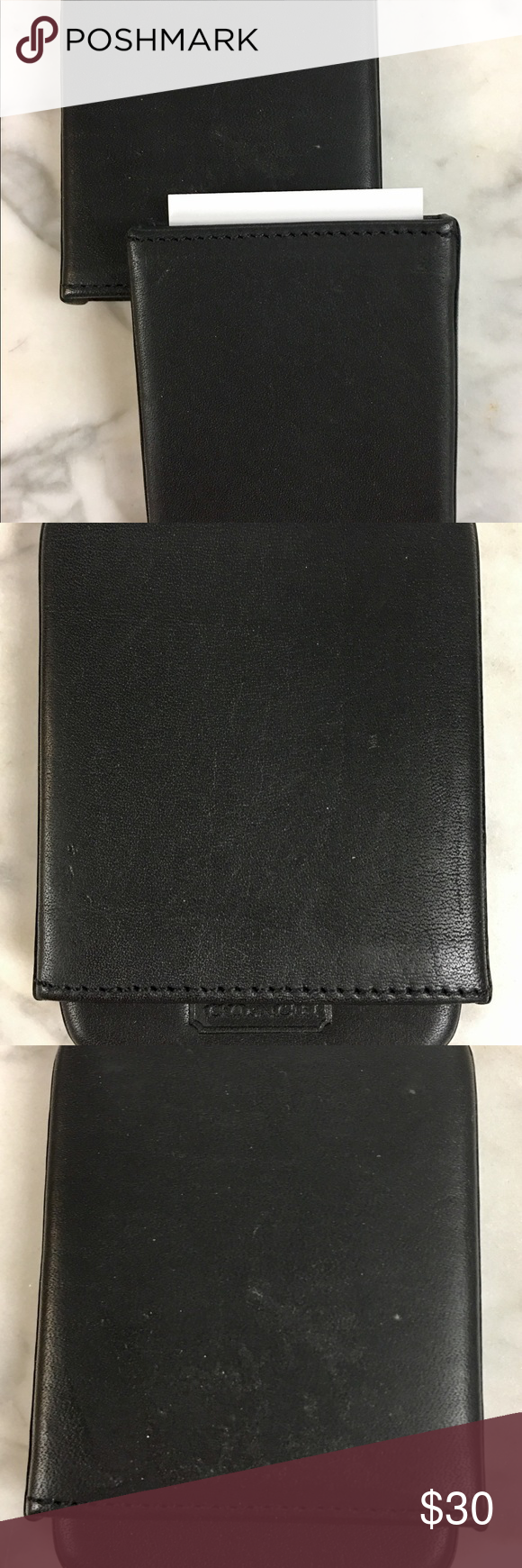 COACH hard leather Card Holder   Key card holder, Smooth leather and ...