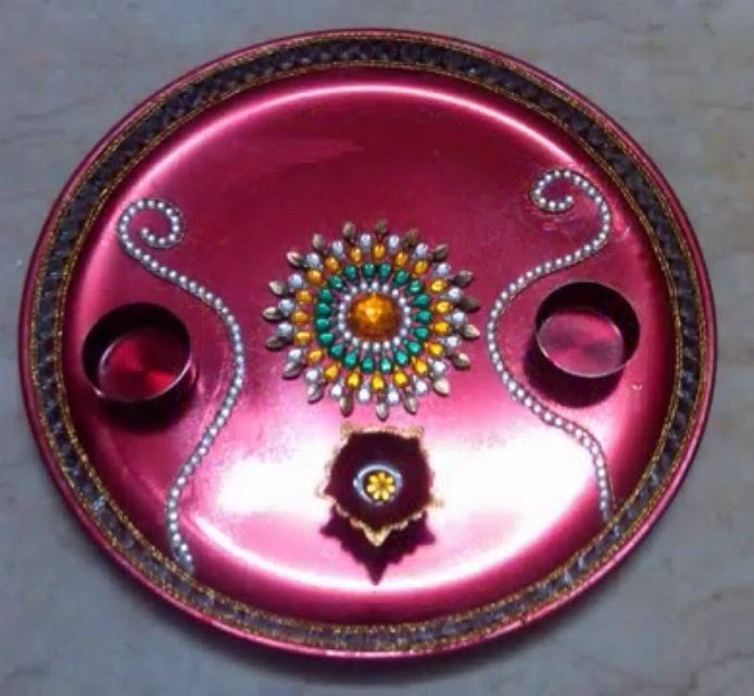Aarti thali diwali decorations pinterest diwali for Aarti thali decoration with kundan