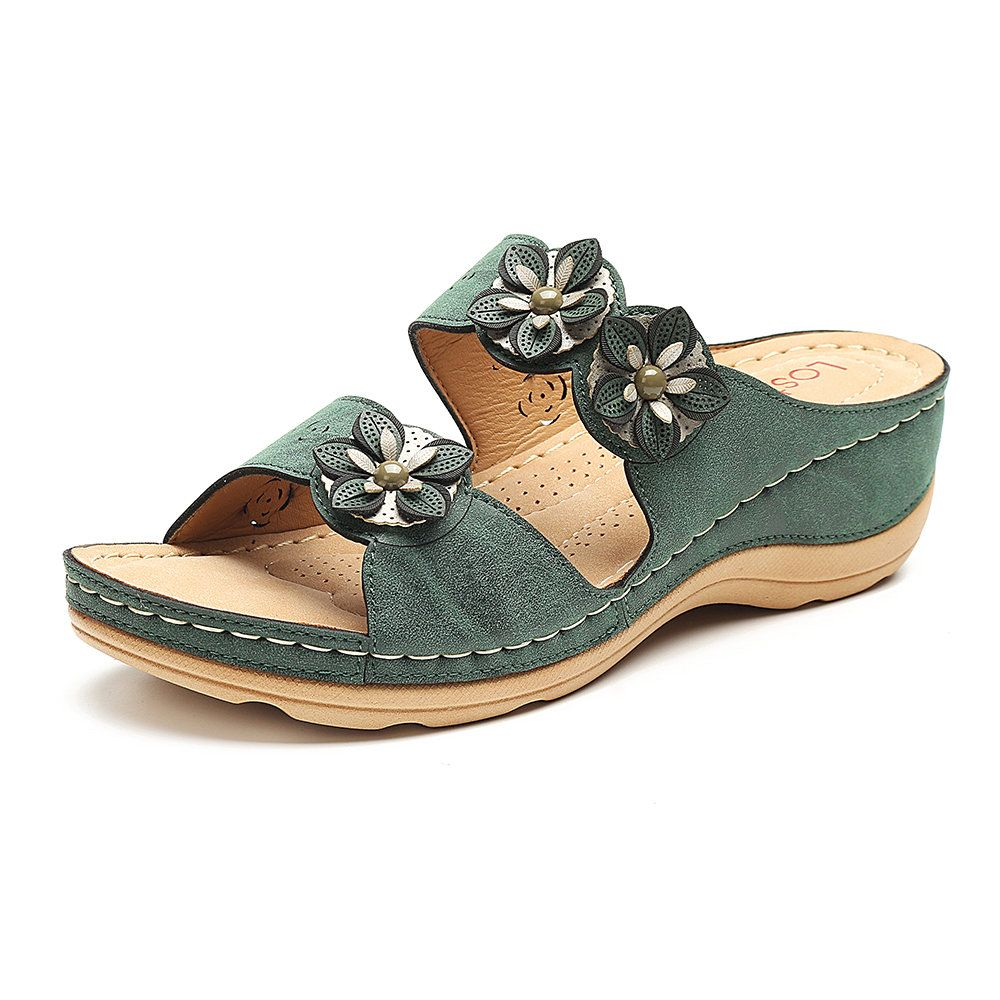 6ac1d7c8d2b2b High-quality Lostisy LOSTISY Breathable Flower Slippers Casual Gray Wedges  Sandals - NewChic