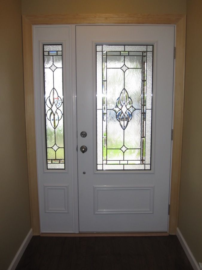 Fiberglass entry door with one side panel remodel ideas for Exterior door with window