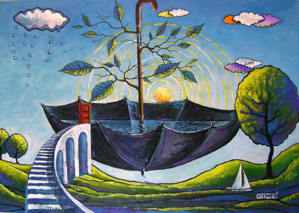 Paradiso privato  cm.50x70  olio e acrilico su tela  opera originale di Giuseppe Sticchi
