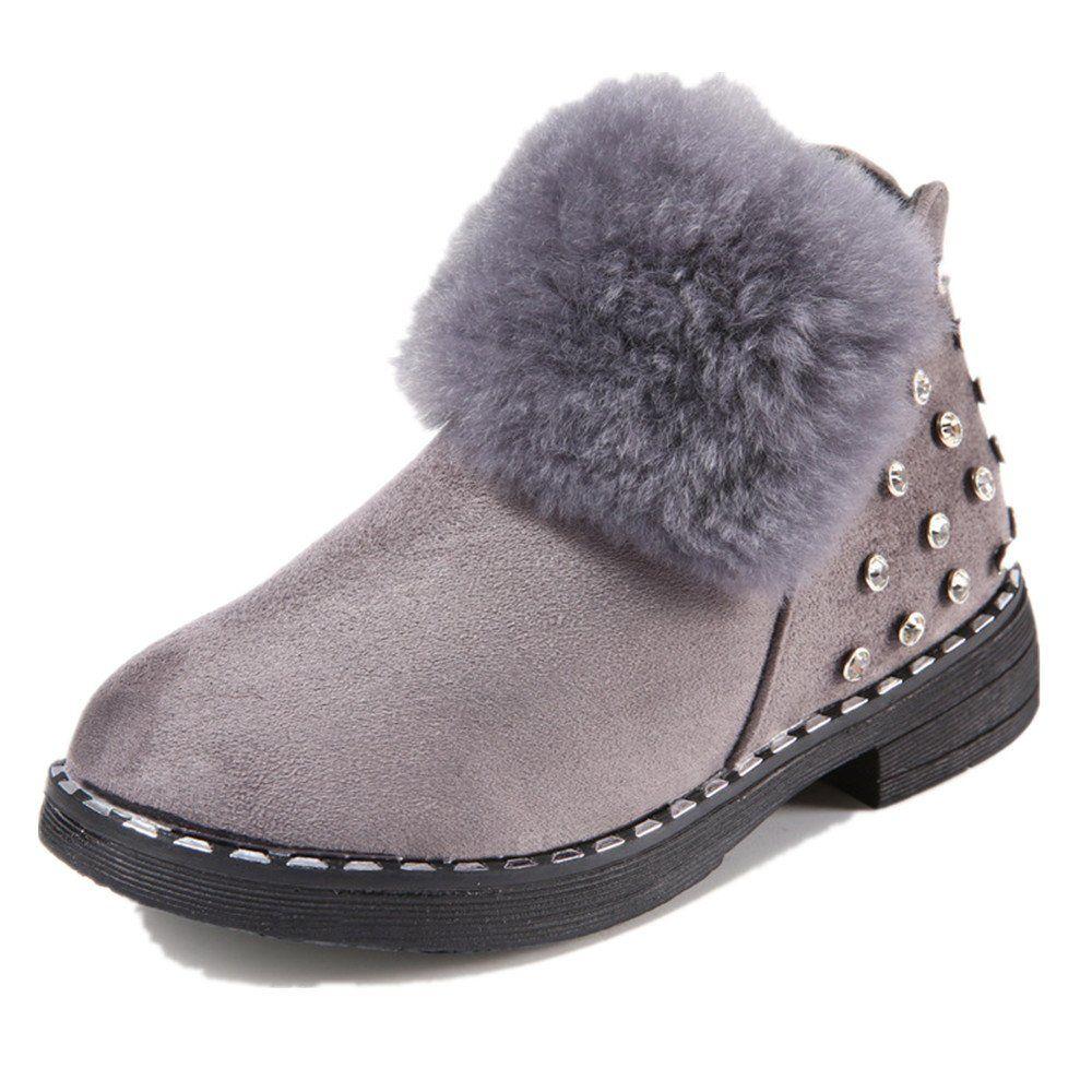 Toddler//Little Kid Girls Waterproof Winter Warm Ankle Boots Zipper Cute Casual Shoes
