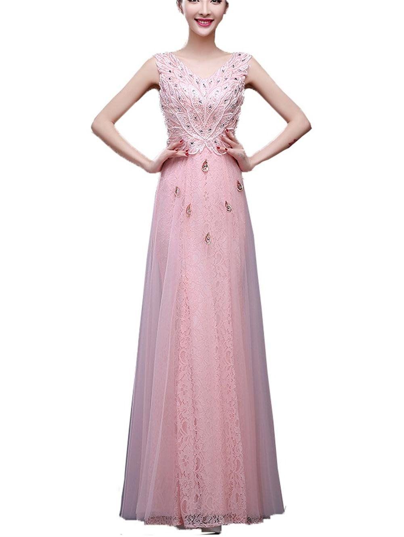 Qunvian womenus lace appliques long evening dresses beaded prom