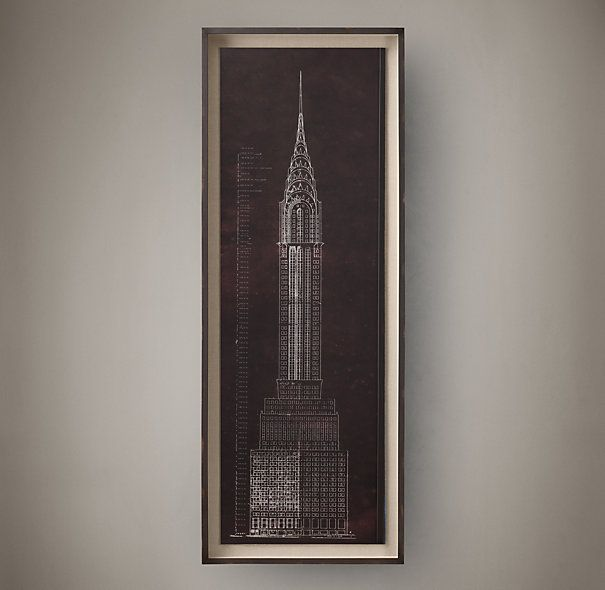Chrysler building blueprint restorationhardware decor pinterest chrysler building blueprint malvernweather Image collections