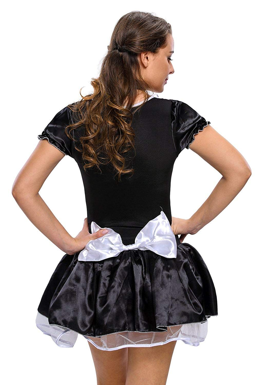 ec1e8afb38e JJ-GOGO Women's French Maid Costume Sexy Black Satin Halloween Fancy ...