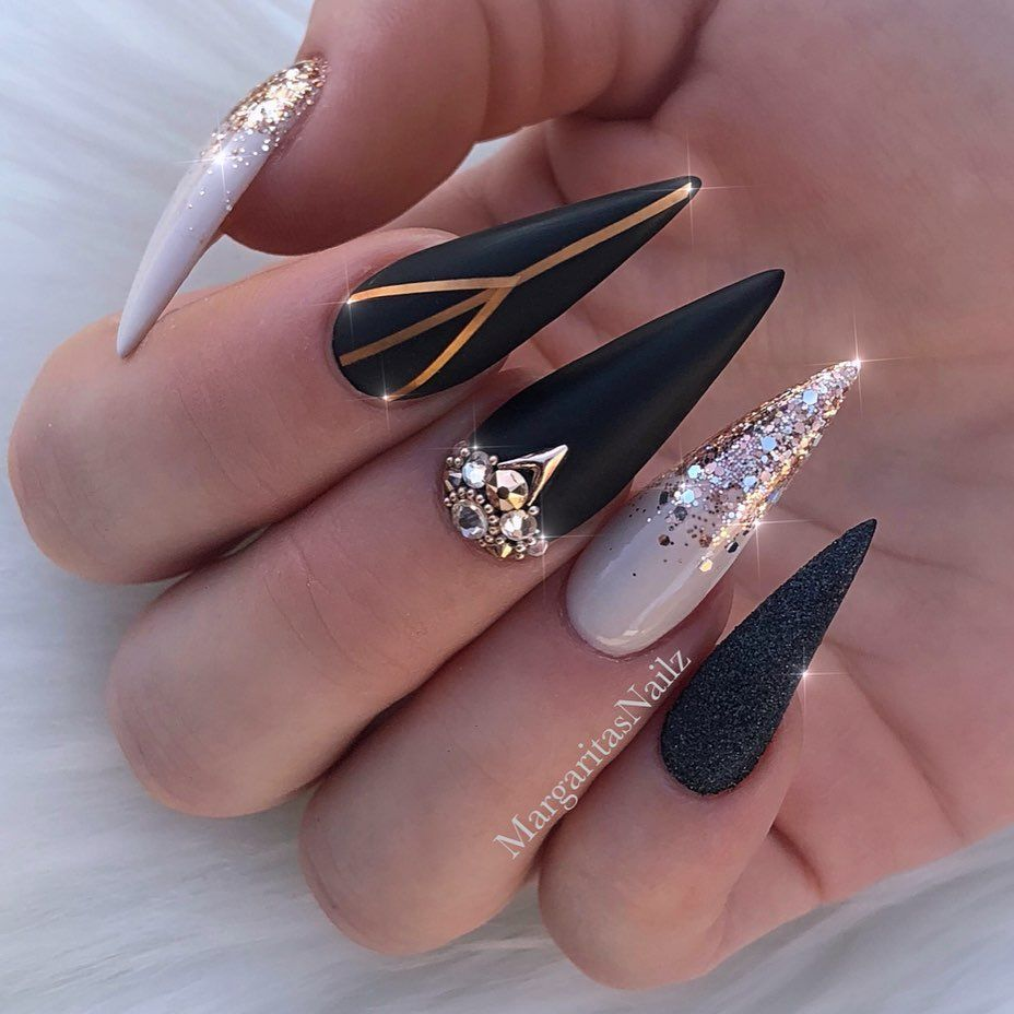 Margaritasnailz On Instagram 1 Or2 Which One 1 Or 2 Gold Stiletto Nails Black Stiletto Nails Stiletto Nail Art