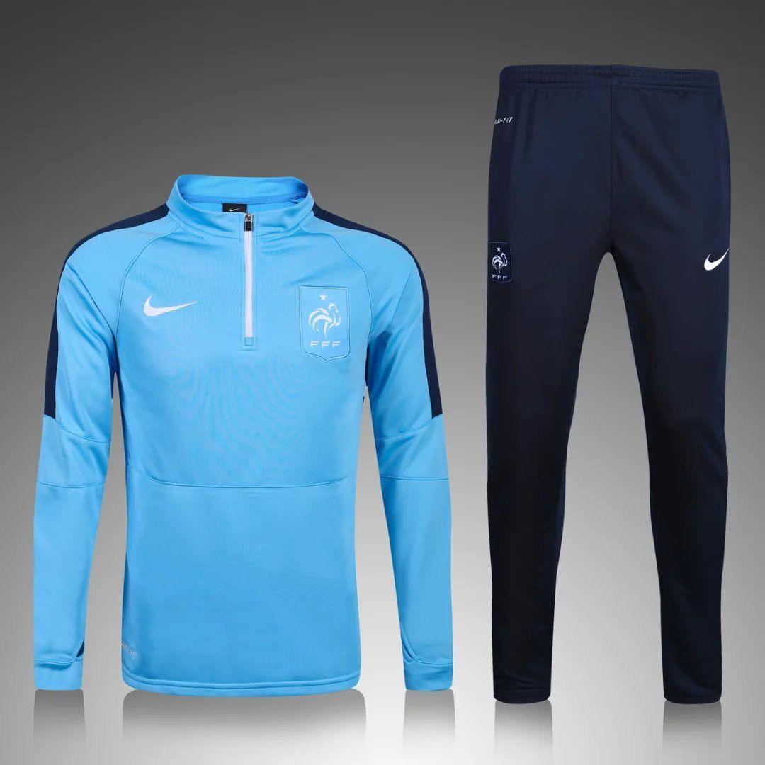 France Euro 201617 Men Light Blue Tracksuit Slim Fit