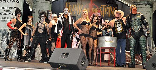"""Frank and the Steins cast with ShowGhouls, Verne Troyer, Event Producer """"Big Daddy Carlos"""", and emcee Alien Warrior Comedian http://www.lasvegasroundtheclock.com/images/stories/Judy/10-17-10/OktoberFrightFest/OktoberFrightFes_4406.jpg"""
