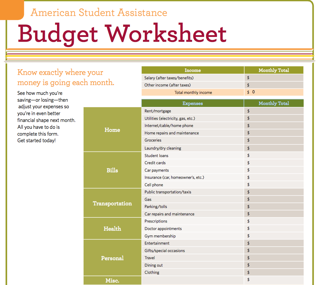 Best Budget Worksheets