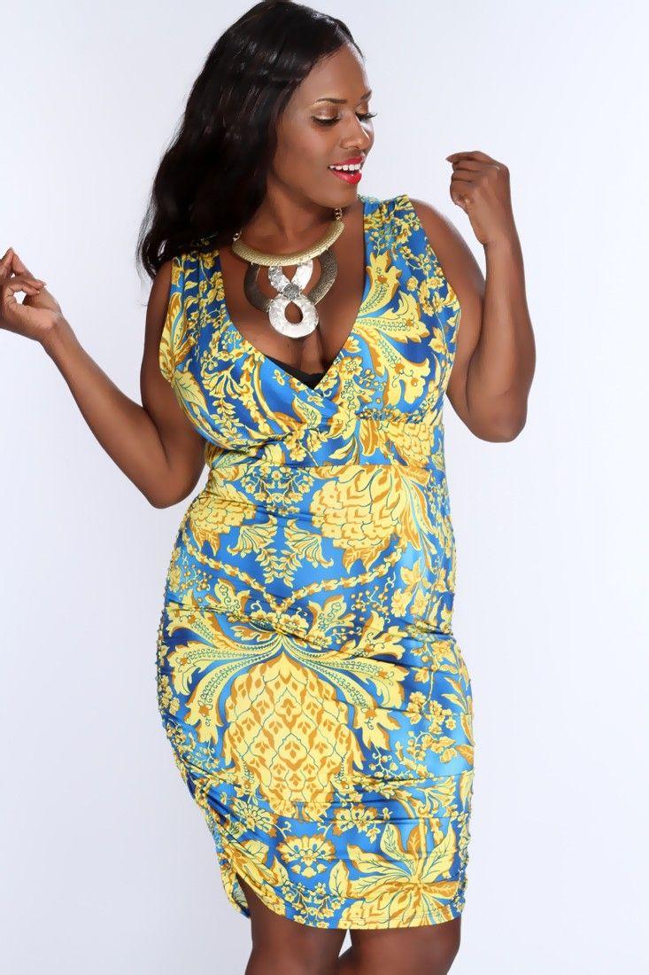 Marigold Royal Blue Sleeveless Printed Sexy Dress AMI+