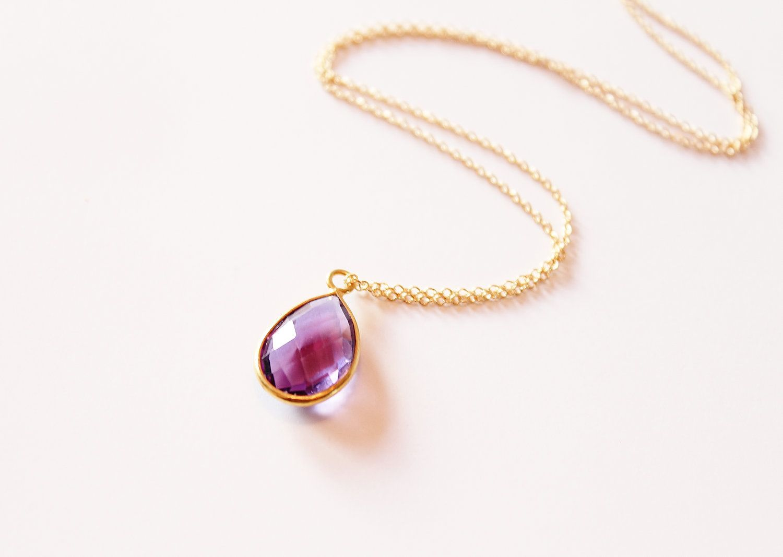 K gold vermeil bezel set purple amethyst gemstone pendant my