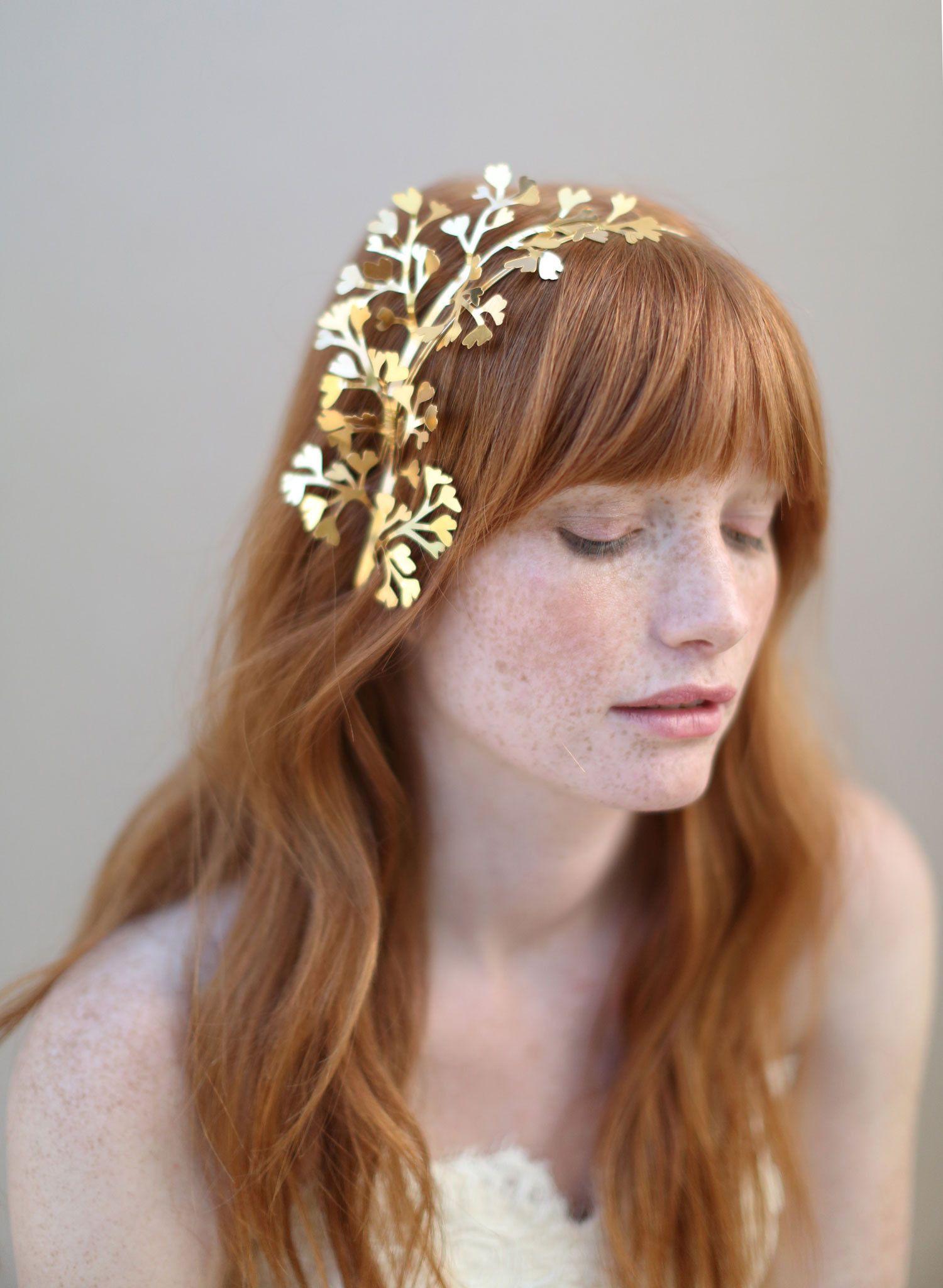 Br Bridal Headpieces Twigs And Honey - Items similar to gold bridal headband headpiece fern leaves maidenhair fern gilded headband style 337 on etsy