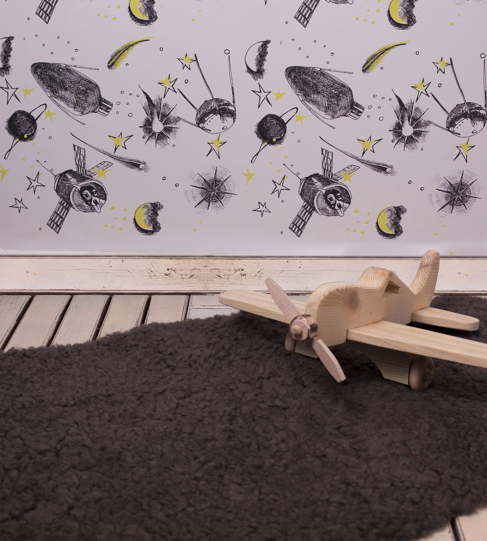 E Sputnik Rocket Ship Wall Art Decor Decal L And Stick Boys Room Wallpaper Scandinavian Modern Nursery Paper Diy