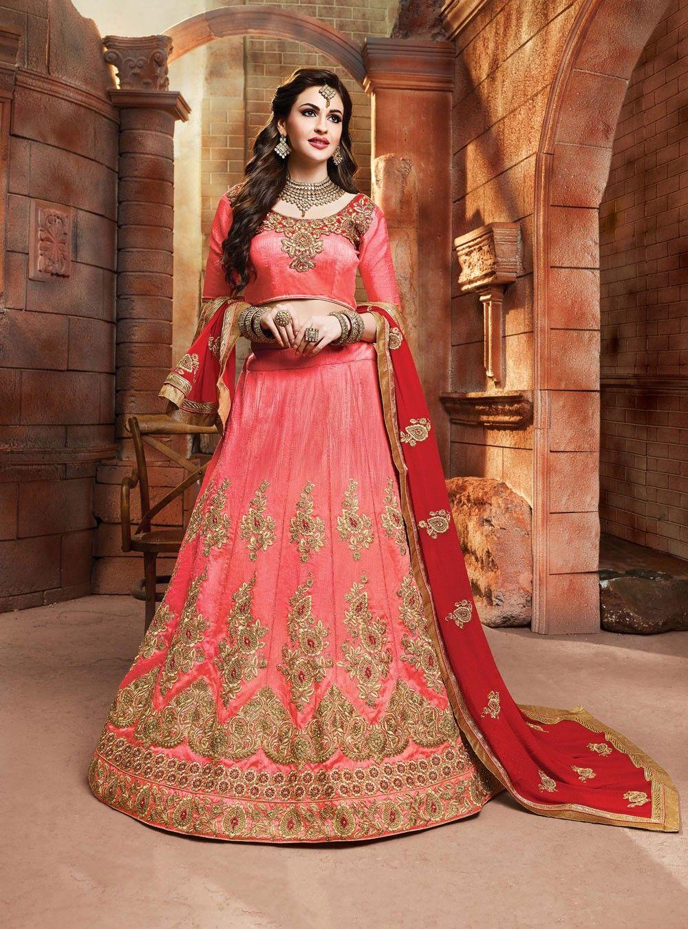Peach Bridal Lehenga Choli in Art Silk Bridal Traditional