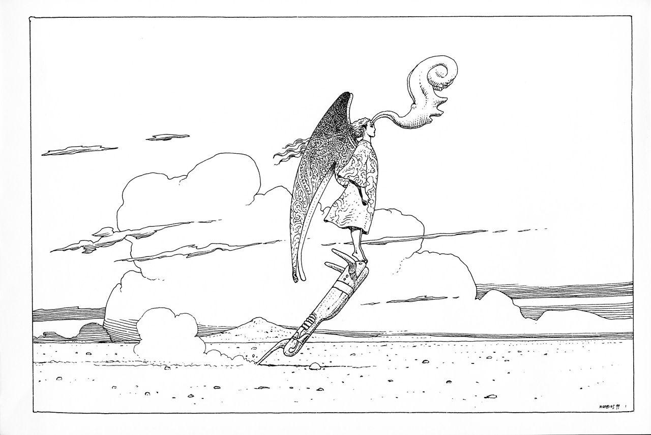 Jean Moebius Giraud 40 Days Dans Le Desert Abstract Coloring Pages Moebius Comics Colorful Drawings