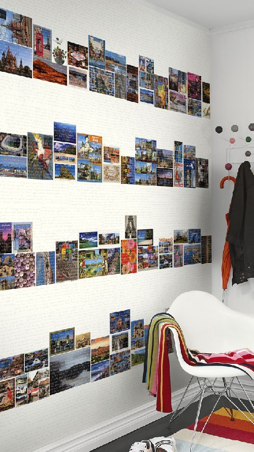 Wallpaper Direct - Postcards Mural by Mr Perswall   Postcard wall, Postcard display, Home decor