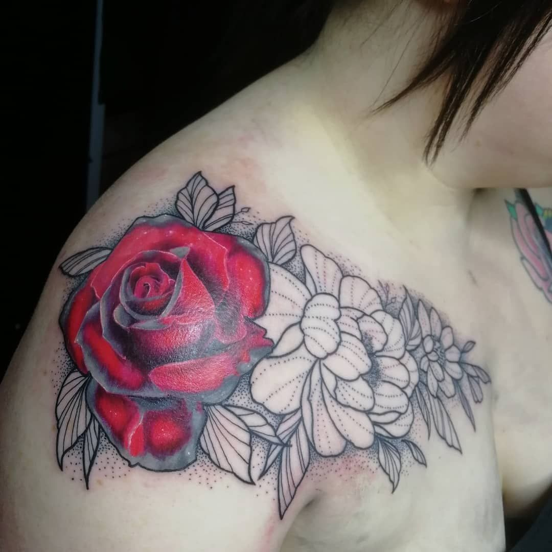 Color rose with floral dotwork on Roisin the other day @___sheeny Love doing this stuff, thanks Roisin ????????   @radiantcolorseurope | Dotwork Tattoos rose #tattoo #apprentice #tattooapprentice #ink #needles #tattoodesign #inkstagram #scottish #scottishartist #apprenticeartist #art #drawing #uktta #tattoos #tattooer #apprenticetattooer #neotradeu #tattooworkers #guyswithtattoos #tattooart #tattoosofinstagram #radiantcolors #radiantcolorsEurope #rose #rosetattoo #dotworktattoo #dotwork #floralt