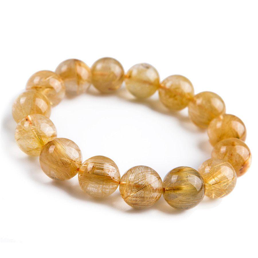 Mm genuine natural yellow gold hari needle round bead crystal